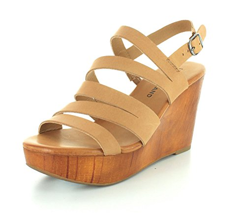 Lucky Brand Marinaa Femmes Cuir Sandales Compensés Clay