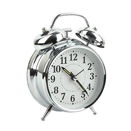 KIOio Reloj Despertador Retro con luz de Fondo, Reloj Despertador para durmientes Pesados, Reloj Despertador a batería (Color : La Plata)