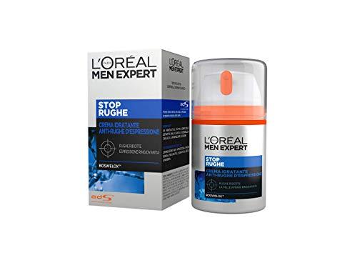 L'Oréal Paris Men Expert, Crema Idratante Stop Rughe con Agenti Anti-Rughe d'Espressione, Formula Arricchita con Boswelox, 50 ml