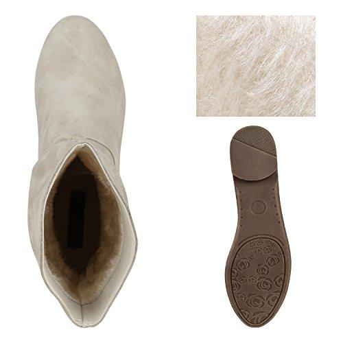 Escorregar Botas De Ankle Mulheres Couro Confortáveis Boots Sapatos Creme Óptica qCwEntO7p