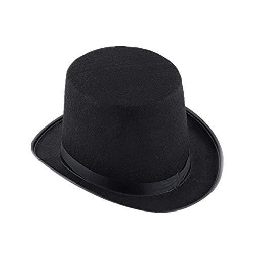 Foana black hat halloween magician magic hat cappello da jazz cupola magia cappello a cilindro (nero)