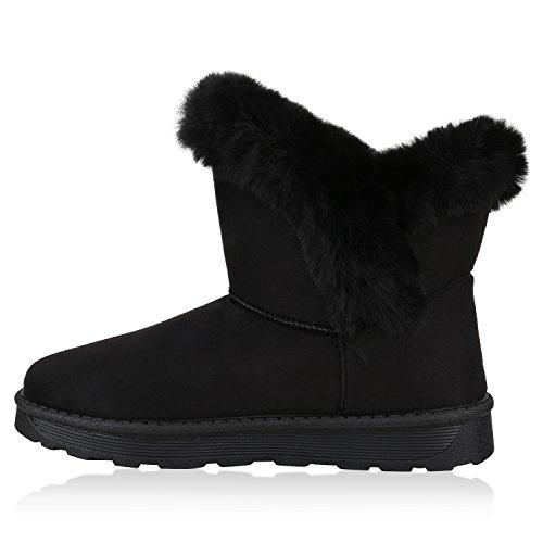 Stiefelparadies Warm Gefütterte Stiefel Damen Stiefeletten Schleifen Satinoptik Schuhe Bequeme Schlupfstiefel Kuschelig Warme Boots Flandell Schwarz Cabanas