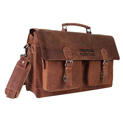 Hammonds Flycatcher Original Oil Pull up Vintage Hunter Leather 17 inch Laptop Messenger Bag (L=18.1,B=5, H=12.2 inch) LB173B