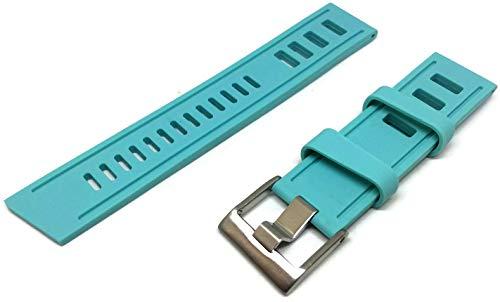 Turquoise Isofrane Style plongée Bracelet de Montre 24mm Vintage Échelle Style Taille en Acier Inoxydable Boucle