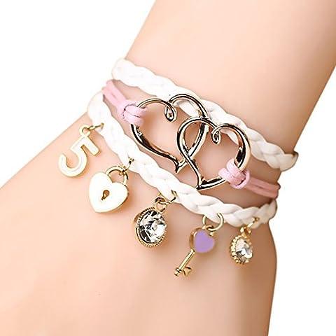 temps Usurier Sweet Love Lock 2Cœur tressé Bracelet à breloques