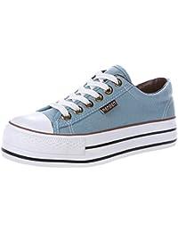 5425884c Renben Chicas Mujer Clásico Plataforma Lona Zapatillas Moda Cordón  Espadrilla Zapatos