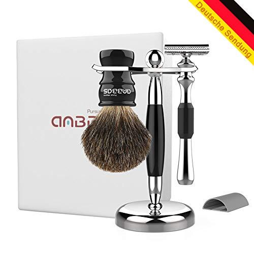 Anbbas Rasierpinsel Set mit schale Rasur Geschenk Set Pure Badger Dachshaar-Rasierpinsel,...