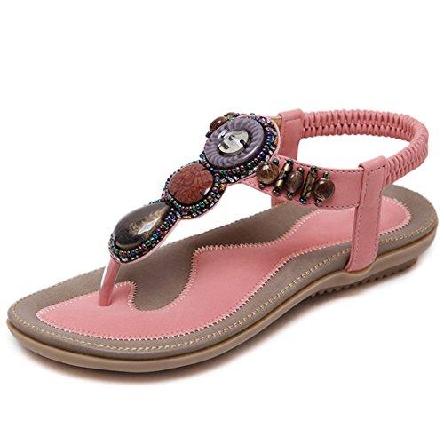 Yre sandali delle signore della boemia pietre pieghevoli piedi etnici sandali dei sandali per i sandali da bagno da viaggio,pink-eu:40/uk:7