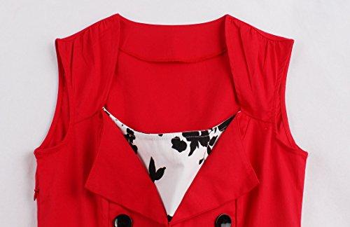 IMUYI Robe de Cocktail de Cocktail de Style Vintage Red Floral