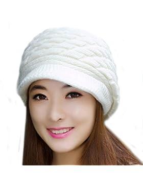 La Haute para mujer moda invierno Nieve de lana de sombrero de punto caliente esquí Caps con visera