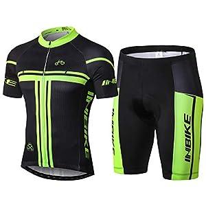 Inbike Ropa Conjunta de Ciclismo Bicicleta de Manga Corta Jersey + Pantalones para los Hombres(L)