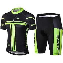 INBIKE Maillot Cyslisme Manches Courtes + Cuissard 3D Coussin Solide Tenue VTT Combinaison Vélo Jersey Respirant Séchage Rapide Cycliste Homme Printemps Ete (Court,L)