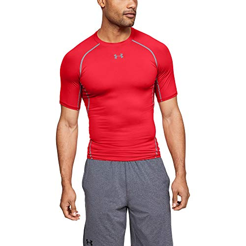 Under Armour Herren UA HG SS T-Shirt UA HG ARMOUR SS, Rot (Red/Steel (600), L