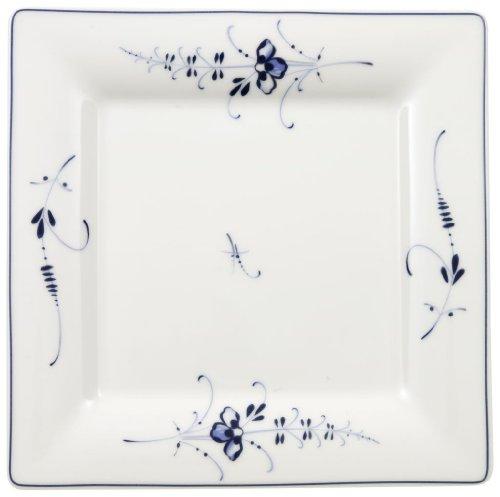 Villeroy & Boch Vieux Luxembourg Assiette petit-déjeuner carrée, 21 cm, Porcelaine Premium, Blanc/Bleu