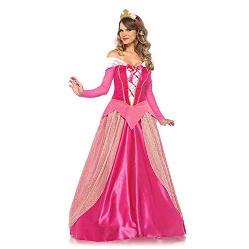 GBYAY S-XXL Aurora Prinzessin Kleid Frauen Langarm Dornröschen Prinzessin Kostüm Erwachsene Halloween Party (Princess Aurora Kostüm Für Erwachsene)