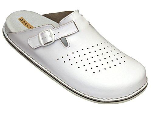 Relaxen Herren Arbeitsschuhe - Medizinische Clogs - Orthopädische Schuhe Schwarz&Weiß Modell MA04 (41, Weiß)