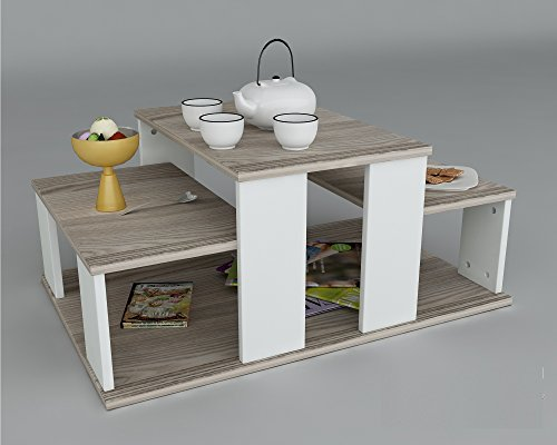 Echelon tavolino basso da salotto bianco avola - Tavolini salotto amazon ...