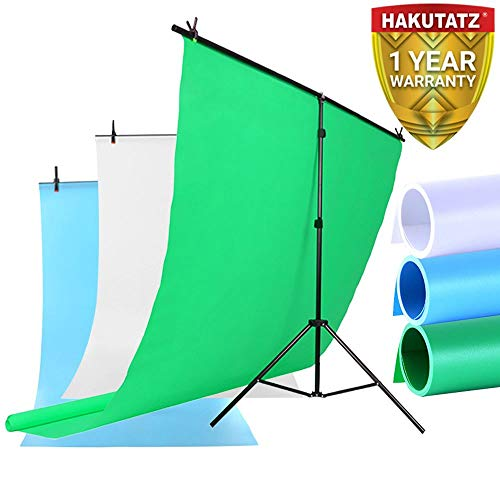 Vinyl-Hintergrund-Kit | T-förmiger, tragbarer, zusammenklappbarer Hintergrund-Hintergrundständer einschließlich grüner, blauer und weißer PVC-Hintergründe | Perfekt für professionelle Studiofotografie (Vinyl Mit Hintergrund-stand)