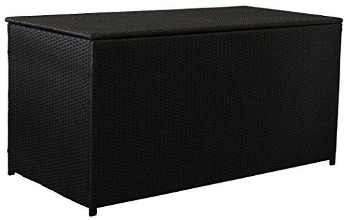 KMH, Extragroße Kissentruhe / Kissenbox 'Emma XL' aus schwarzem Polyrattan Auflagenbox Lounge (4...