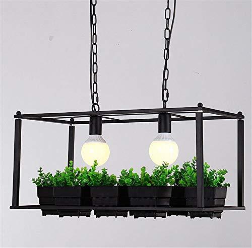 Payonr Hängende Deckenleuchten Deckenleuchte Creative Plant Pot Rack Kronleuchter Square Pot Blumenladen Bar Balkon mit Schmiedeeisen-Kronleuchter -