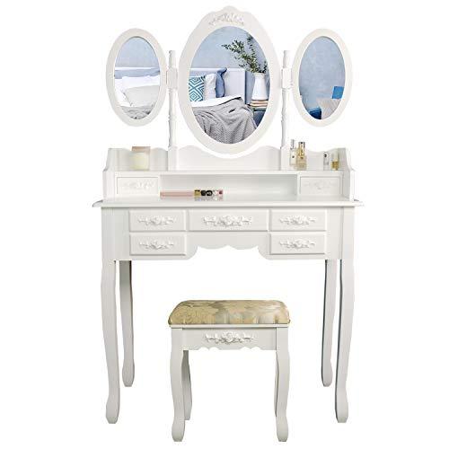 CCLIFE Toeletta trucco,toeletta trucco con sgabello Cosmetici Mobile da Trucco da Toeletta con 3 Specchio, Colore:010-Bianco