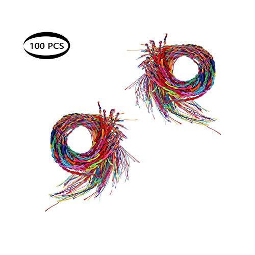 Shuny 100 Stück Geflochtenes Armband,Bunte Braid Freundschaft Cords Strand Armband Handgelenk Fußkettchen(zufällige Farbe)