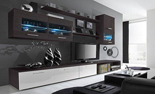 Home Innovation - Ensemble de Meubles Salon unité Murale, Meuble Bas TV, Salle à Manger, Ensemble de séjour Contemporain avec ilumination LED, Blanc Laqué et Wengué, Dimensions : 250x190x42 cm.