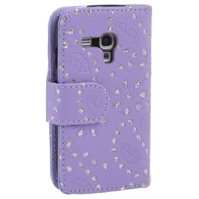 Etui de téléphone portable Coque Samsung Galaxy S3 mini i8190 Business Case Smartphone Case strass scintillants clignotant flip brillant de mode chic fleur pourpre motif floral