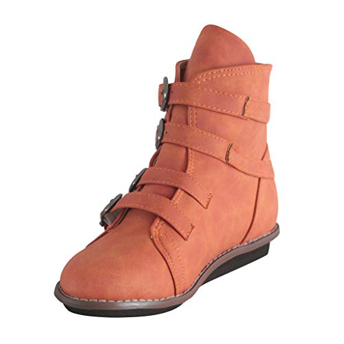 Damen Stiefel FGHYH Bequemer runder Zehenschnallenriemen für Damen Freizeitschuhe mit niedrigen Absätzen Ankle Booties(41, Orange) (Keil Bequeme Niedrige)