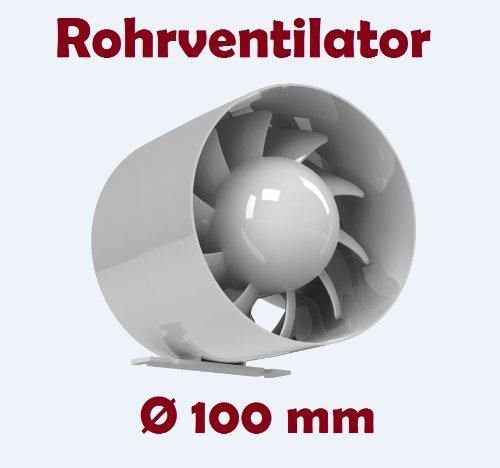 Kanal Rohrventilator Rohreinschub Abluft Lüfter Rohr Ventilator Leise Ø 100 mm 10 cm Rohrlüfter 15W/105m³