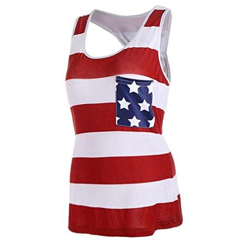 UFACE Saison Nationalflagge Gedruckt Gestreiften Bogen äRmellose Weste Frauen-Amerikanische Flagge Streifen Bowknot Tank Tops Casual Bluse T-Shirt (S, Rot)