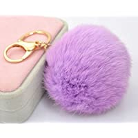 Yanseller 18 K Gold Plated Keychain with Plush Cute Genuine Rabbit Fur Key Chain for Car Key Ring or Bags (purple) by Yanseller