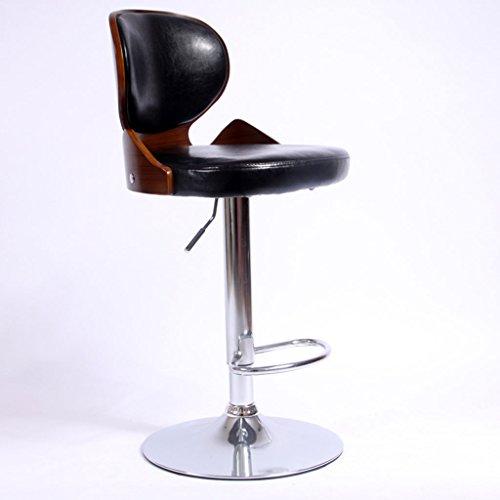 GJM Shop tabouret pivotant à 360 ° réglable en hau Européen Noir Lumière Similicuir + Coussin Éponge Bois Massif Tabouret De Bar Dossier Peut Lever Chaise De Bar Bar Restaurant Tabouret De Caisse Enregistreuse 360 ° Rotatif Chaise Haute Chaises D'accueil --- Sponge + Leatherette / surface de chaise en bo