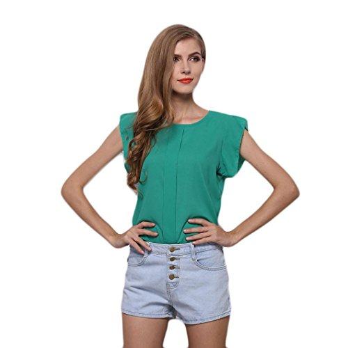 TEBAISE Sommer-Frauen-Büro-Formale Klage Oansatz Sleeveless Reine Farben-Weste-Chiffon- Oberseiten-T-Shirt Bluse-Uniform-Pullover(Grün,EU-38/CN-M) (Grüner Pullover Uniform)