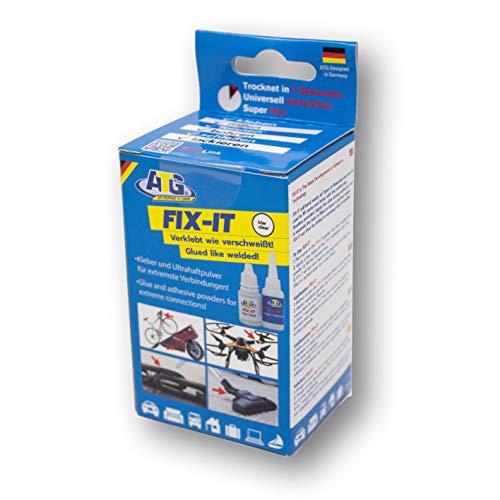 ATG FIX-IT -Transparent - Sekundenkleber Extra Stark Mit Granulat - Industriekleberset für Kunststoff Plastik Metall Holz - Transparentes Granulat