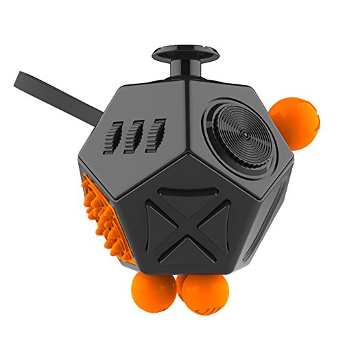 GZQ Fidget Cube Fun 12 Sided Cube Toys Anti-anxiety Depression Stress Relieving for ADD, ADHD, Autism Kids Girls Adults Great for Work, Office, School (Black Orange)