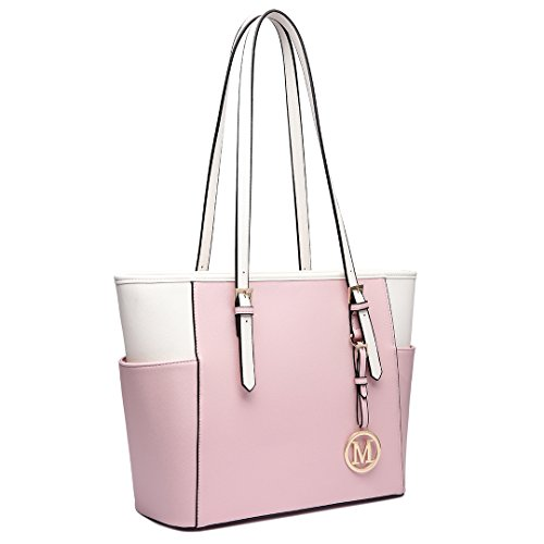 Miss Lulu, Borsa a spalla donna 1642-1 Pink and Beige