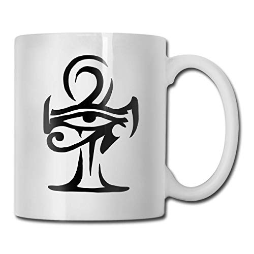 DHIHAS Strong Stability Durable Kaffeebecher Horus Eye with Ankh Tribal Tattoo Mug Funny Ceramic Cup for Coffee and Tea with Handle, White -