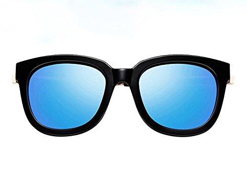 Unbekannt XUEP Sonnenbrillen Sonnenbrille Flut Persönlichkeit Elegante runde Brille Retro-Brille Polarisierte Sport-Sonnenbrille Driving Glasses Shades (Color : Black-Rimmed Blue-chip)