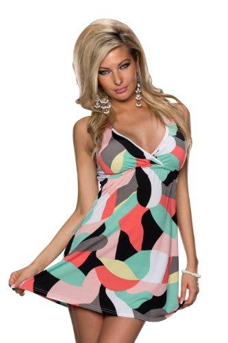 5017 Fashion4Young mini robe robe d'été sans manches pour femme 3 coloris disponibles taille 34/36 - Rot Multicolor