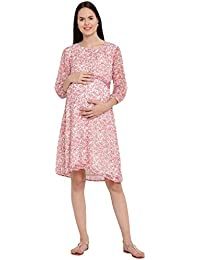 Mine4Nine Women's Chiffon Maternity Midi Dress (White/Red, MNDR1107)