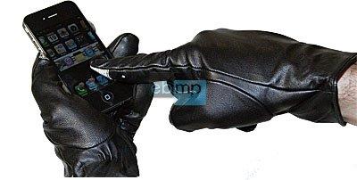 PREMIUM Touch-Handschuhe Hand-Schuhe Lederhandschuhe für Touchscreen-Handy+PDA Gr.L=6,5-7 aus echtem LEDER Touch-screen-pda