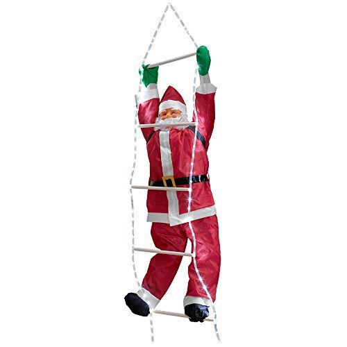 Pères Noël sur échelle 220cm décoration de Noël Noël Saint Nicolas pour l'extérieur/l'intérieur