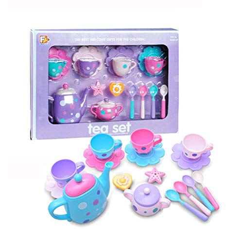 TOY 16PCS Colorful Fun Children's Kitchen, Tea Set Cutlery Set, Variety of Accessories with Simulation Kitchen, Educational Learning Tool