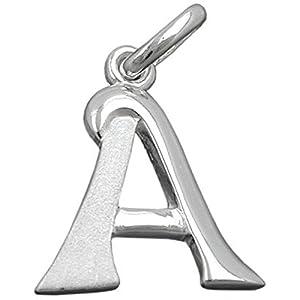 Unbespielt Kettenanhänger Silberanhänger für Halskette Unisex Anhänger Buchstabe A 925 Silber 15 x 13 mm inkl. kleiner Schmuckbox