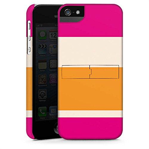 Apple iPhone 6 Housse Étui Silicone Coque Protection Bandes rose orange couleurs Motif CasStandup blanc