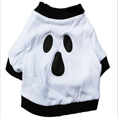 Ninasill ღ ღ Hund Kleidung Weihnachten Baumwolle Weiß Halloween Ghost Pet Shirt Casual Large Weiß