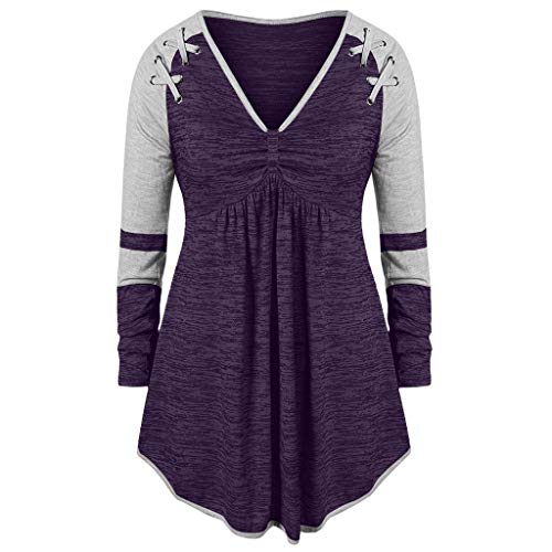 Langarm-plus Size Pullover (Dhyuen Womenb Plus Size Kleid Hemd Farbe Block Patchwork Langarm V-Ausschnitt Verband Runched Swing Tunika Tops Pullover)