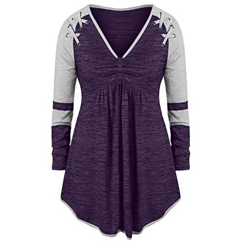 Dhyuen Womenb Plus Size Kleid Hemd Farbe Block Patchwork Langarm V-Ausschnitt Verband Runched Swing Tunika Tops Pullover - Farbe Block Tunika Top