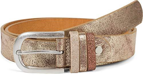 styleBREAKER Damen Gürtel Uni mit Glitzer Schlaufe, kürzbar 03010091, Größe:95cm, Farbe:Antik-Gold